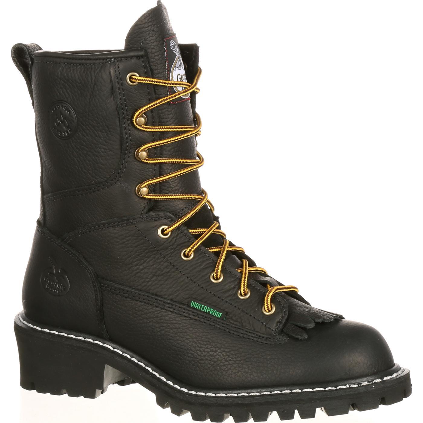 Georgia Boot Men S 8 Inch Waterproof Black Logger Boot