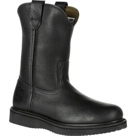 Georgia Boot Black Wedge Pull-On Work