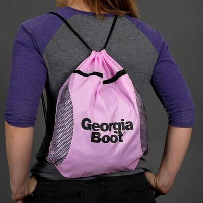Georgia Boot Logo Pink Drawstring Bag, , large