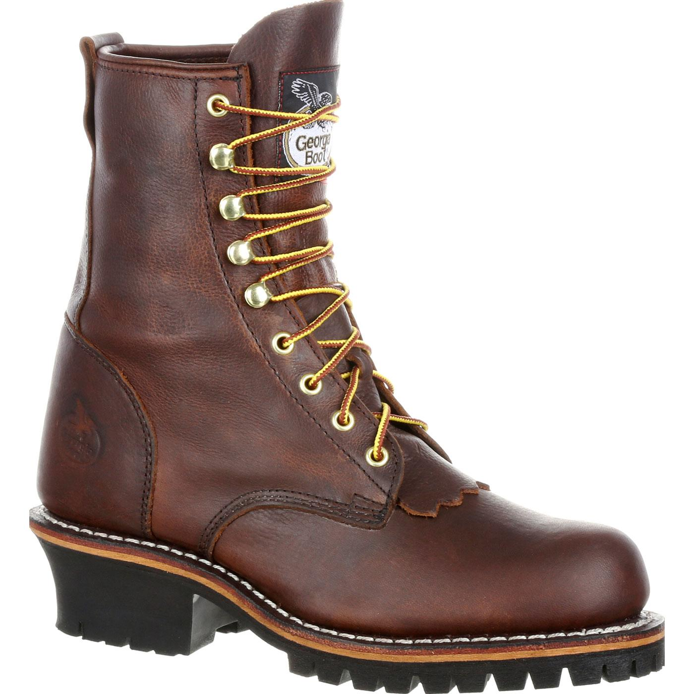 Georgia Boot Men S 8 Inch Brown Logger Work Boot Gb0115ia