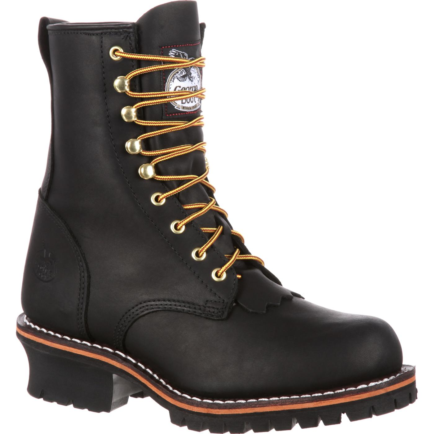 Men S 8 Quot Black Logger Work Boots Georgia Boot Style G8100
