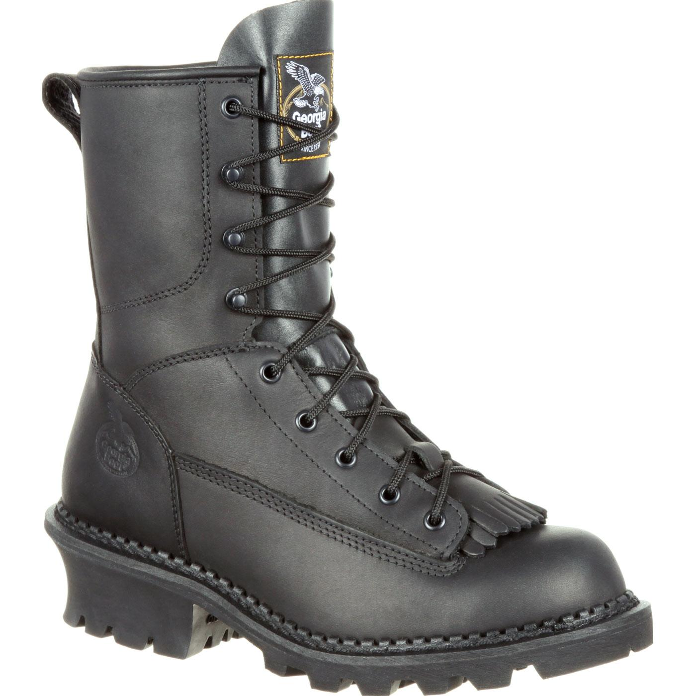 Georgia Boot Black Logger Work Boot