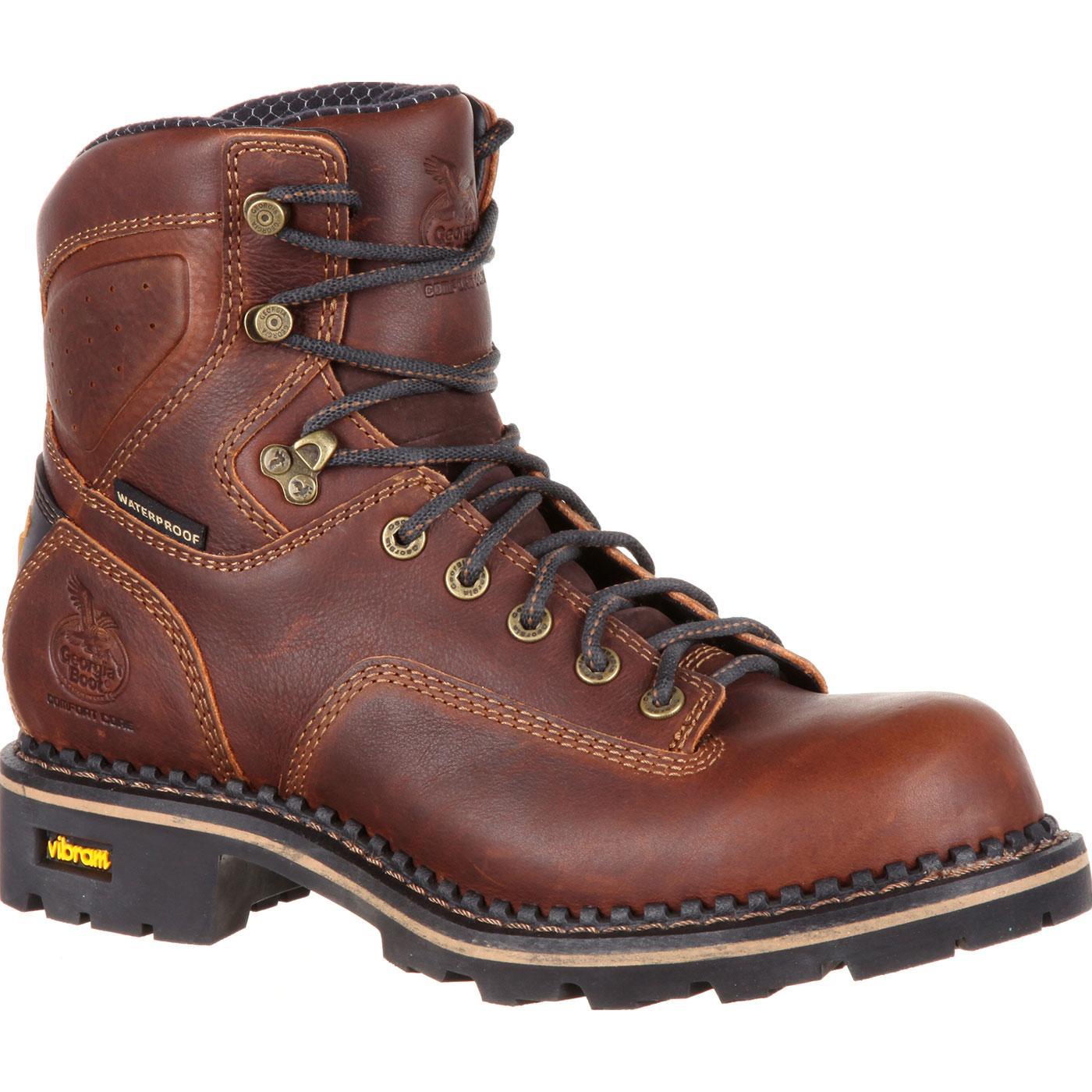 Georgia Boot Men S Comfort Core Low Heel Waterproof Logger