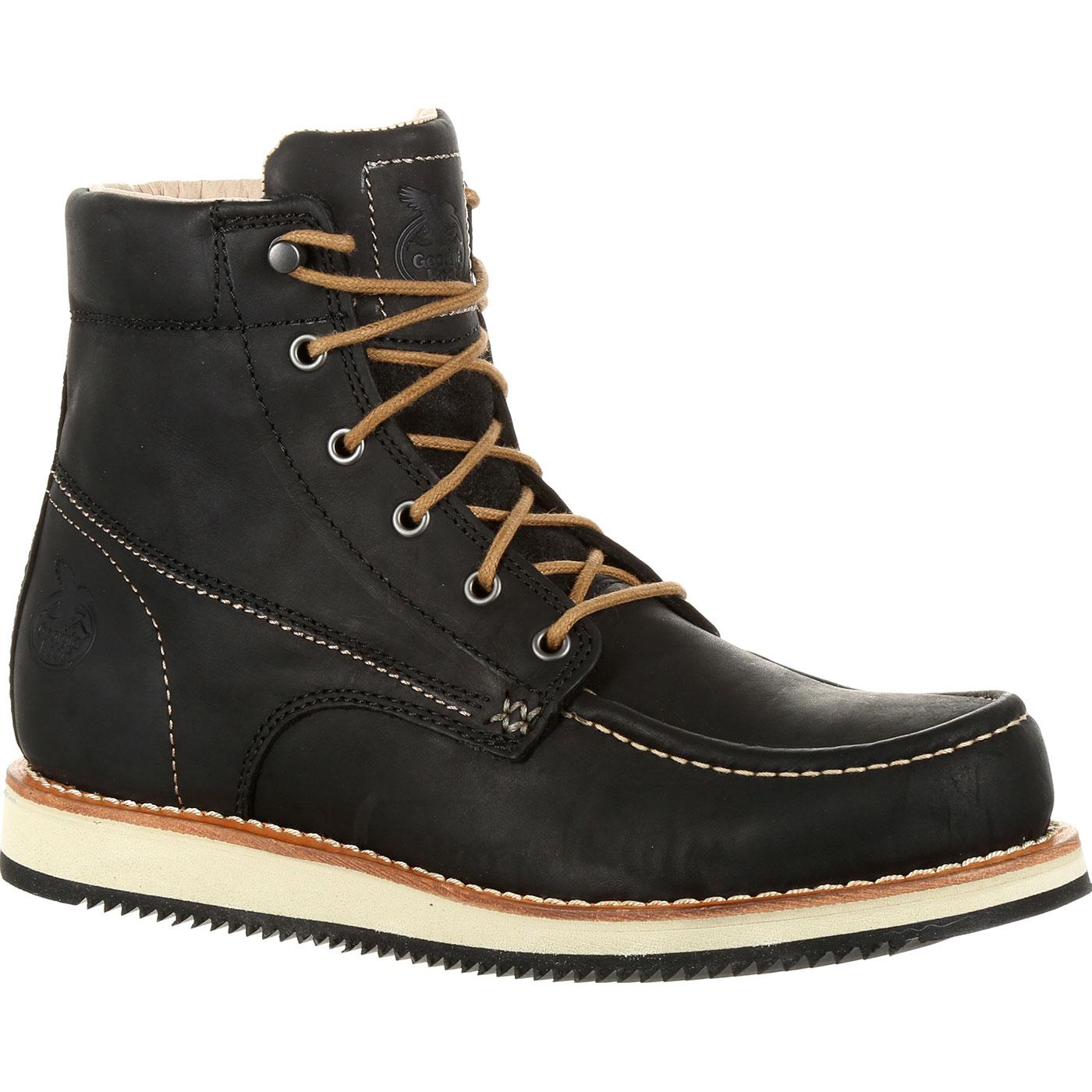 Georgia Boot Small Batch Black Leather Wedge Boot