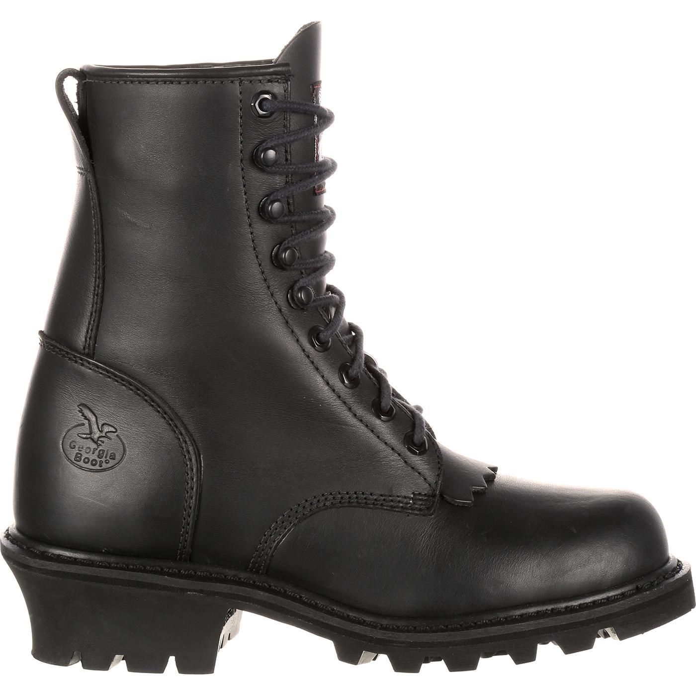 Georgia Boot Black 8 In Logger Work Boot Style Gb0075ia
