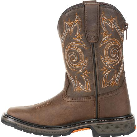 Georgia Boot Carbo-Tec LT Little Kids Brown Pull on Boot, , large