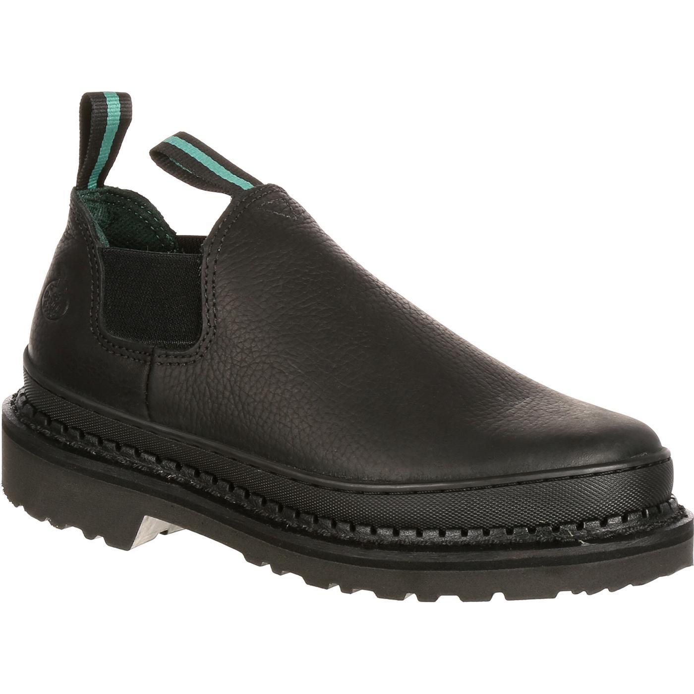 2aad88e8983f8 Georgia Giant  Men s Black Leather Slip-On Romeo Work Shoes