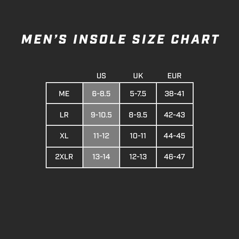 Insole size chart